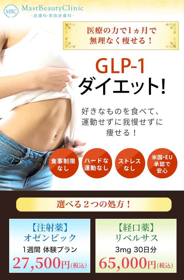 医療の力で1ヶ月で無理なく痩せる!GLP-1ダイエット 好きなものを食べて、運動せずに我慢せずに痩せる!来院不要、食事制限なし、ストレスなし、米国・EU承認で安心